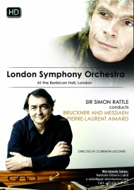 Poster of Sir Simon Rattle conducts Bruckner and Messiaen  with Pierre-Laurent Aimard
